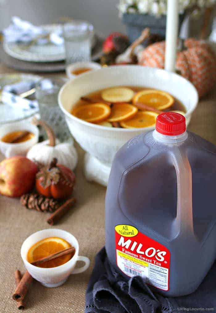 Easy Autumn Spice Punch Recipe with Milos Tea, fresh fruit and fall spices.