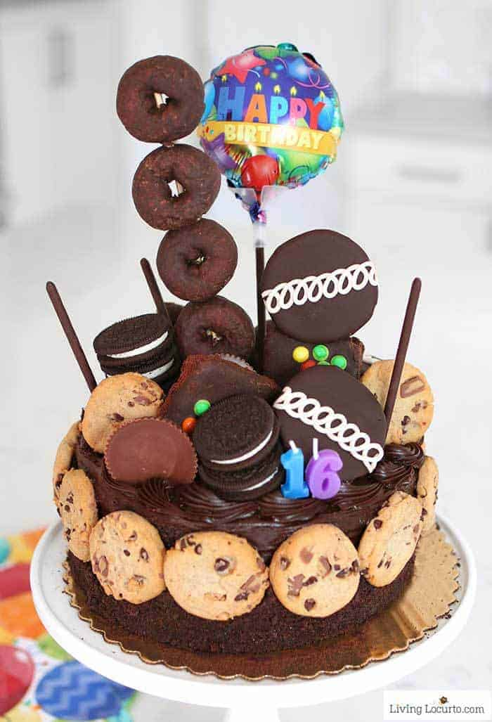 Make the Ultimate Chocolate Birthday Cake in minutes with this easy no bake dessert idea! A fun semi-homemade cake. Easy 16th birthday party ideas.