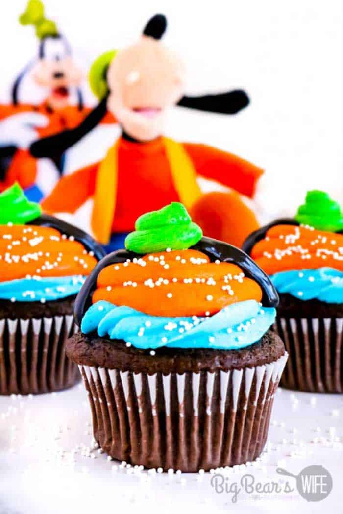 A brightly colored chocolate cupcake