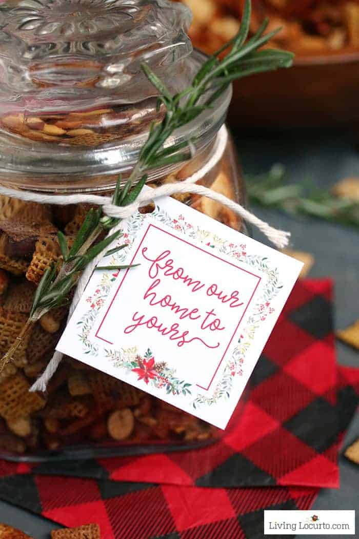 How to make Brown Sugar Bacon Chex Mix recipe. Delicious and easy homemade gift in a jar with printable tags.