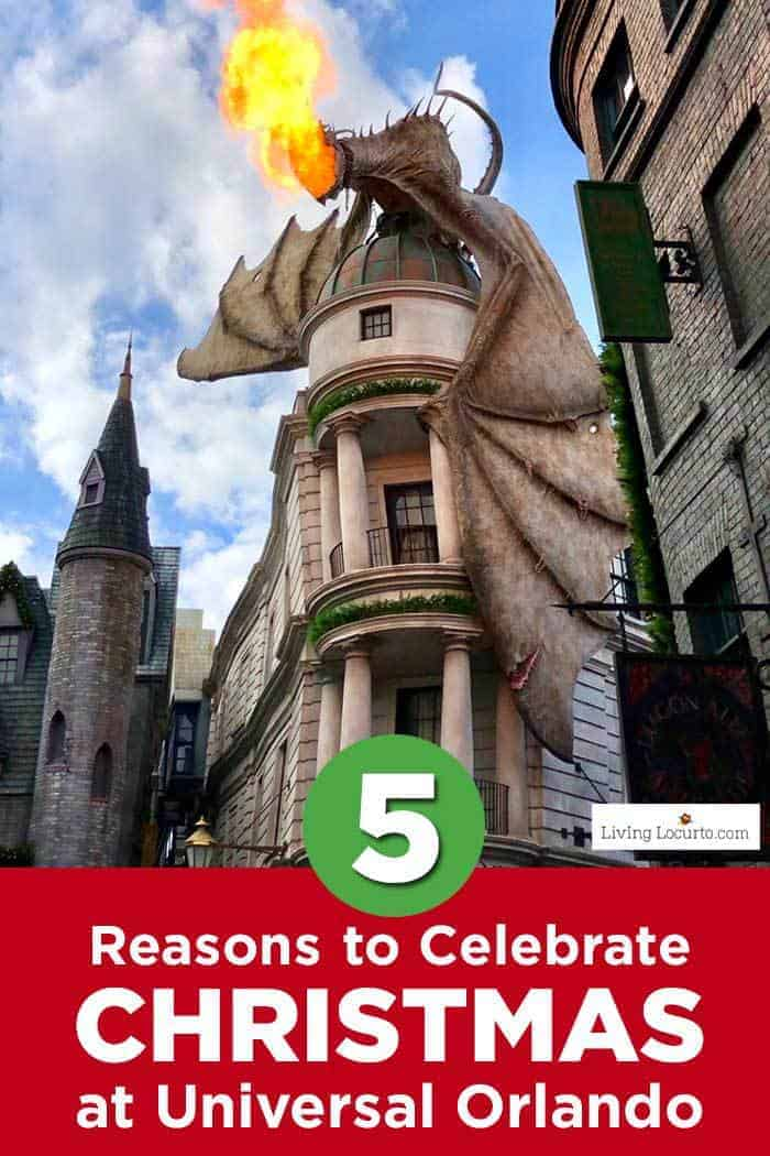 5 Reasons to Celebrate Christmas at Universal Orlando. Learn what's new this holiday season and get travel tips to make your Christmas vacation special. What's new for Harry Potter fans, parades and more. #harrypotter #universalorlando