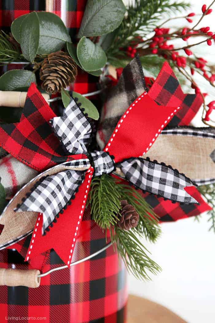 How to Make a Bow - Buffalo Check Plaid Bow Tutorial Craft by Living Locurto