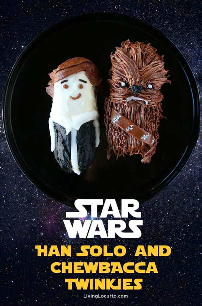 A graphic showing Twinkies decorated as Han Solo and Chewbaca.