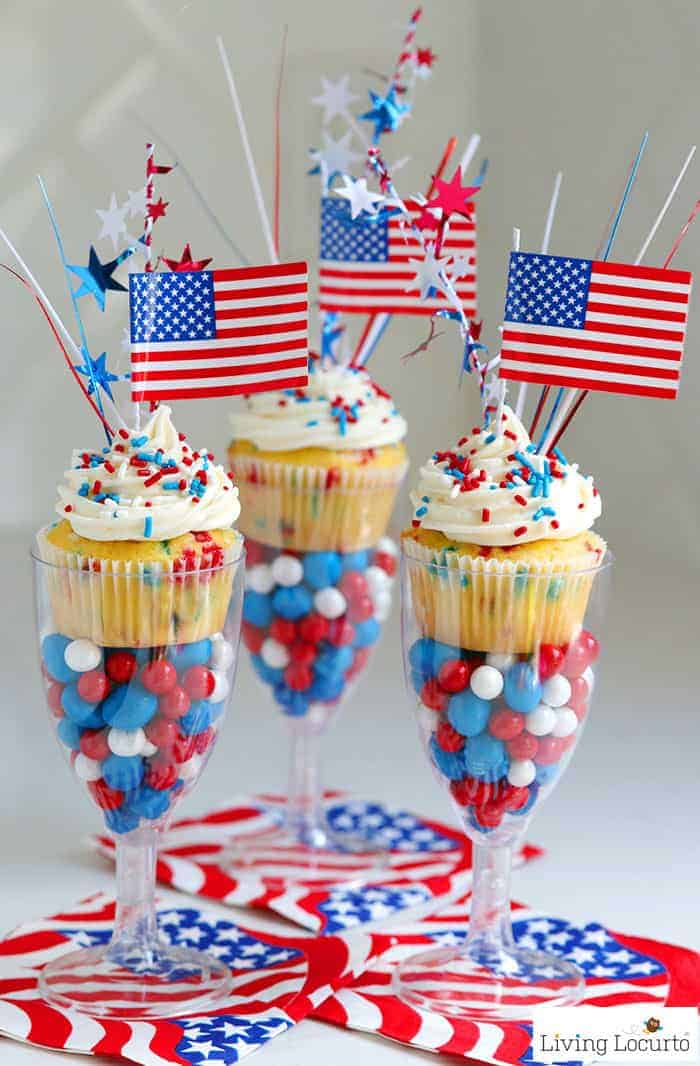 Red, White and Blue Funfetti Cupcakes recipe for a 4th of July party. Display in plastic wine glasses filled with patriotic candy for a fun wow factor!