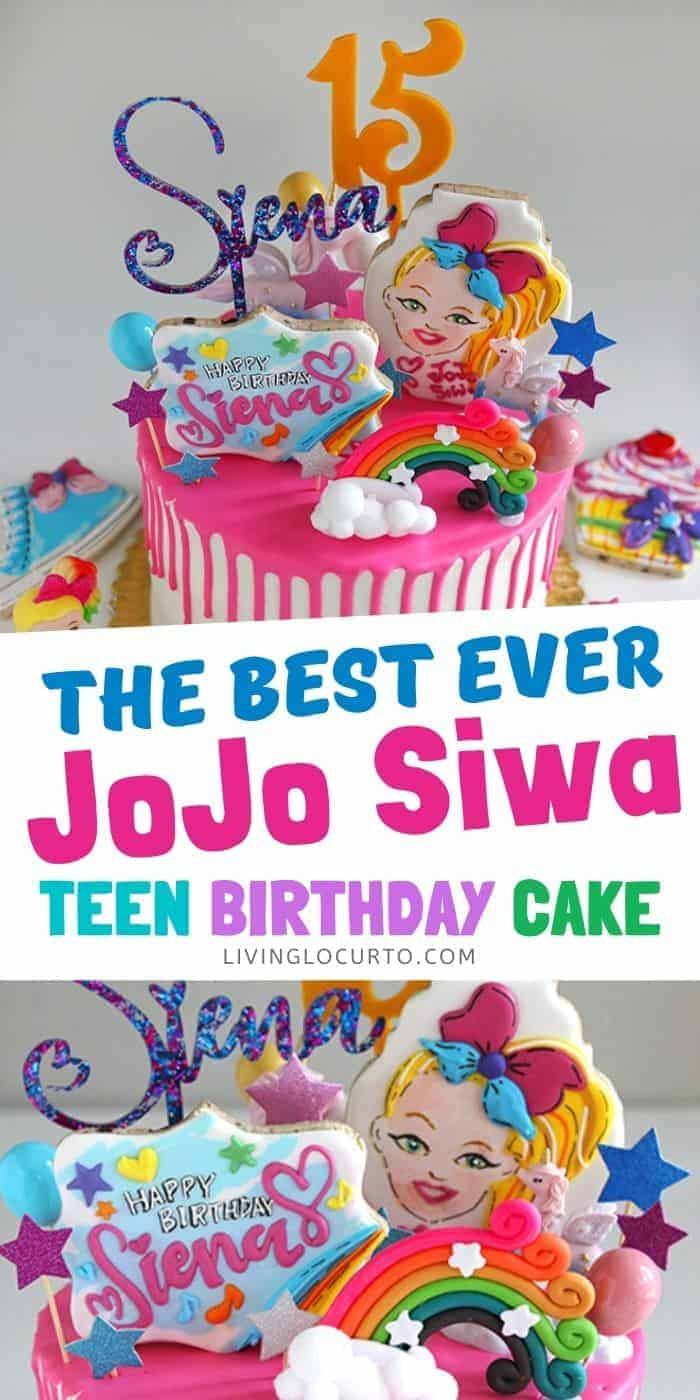 JoJo Siwa Birthday Cake - Hot Pink Drip Cake with colorful cookies and cake toppers.