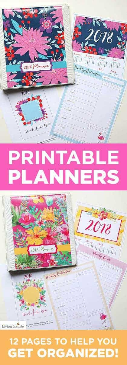 A beautiful printable 2018 Plannerthat makes the perfect DIY daily planner to help keep focused, get your life organized and get the things done that are on your to do list! Floral DIY Printable Planners, Calendar and lists. LivingLocurto.com