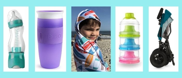 5 products, bottle, sippy cup, towel,snack tower and folded stroller-- that are handy for travel with babies and toddlers.