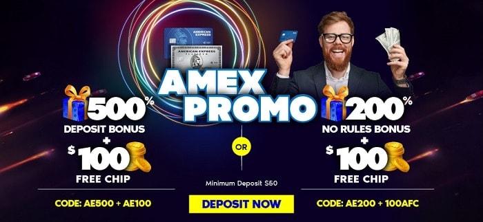500% bonus and $100 free chip