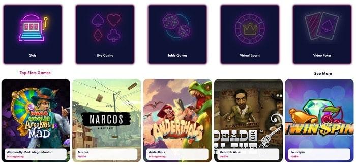 Slots, Live Dealer, Games