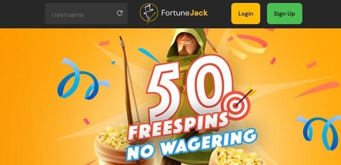 FortuneJack50 gratis spins