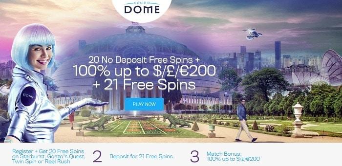 Dome Casino 20 freespins