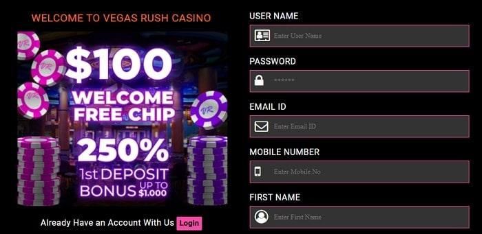 VegasRush $100 free chips