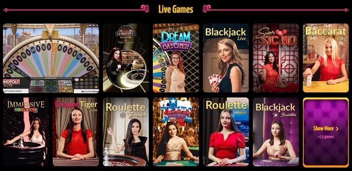 Winota Live Casino Games