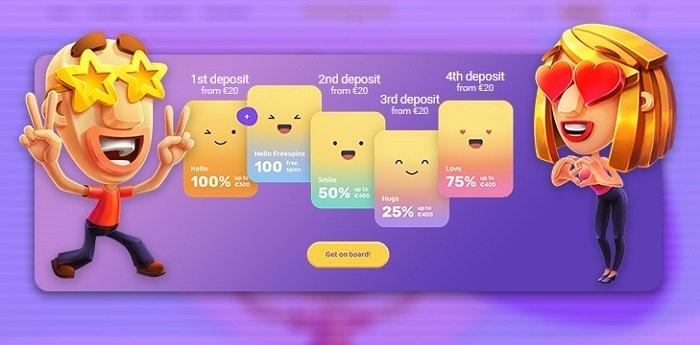 Welcome Bonus and Free Spins at Emojino.com