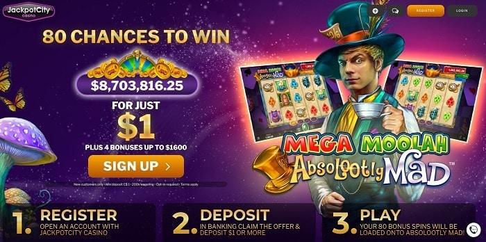 Get 80 free spins on jackpot slot machine!