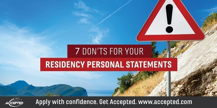 7 Don'ts for Your Residency Personal Statements