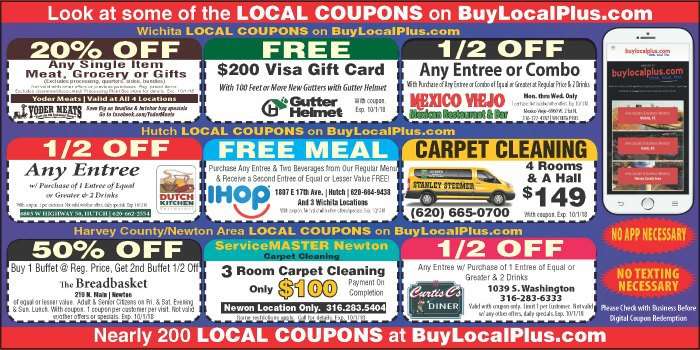 Coupons for Harvey County, Hutchinson, and Wichita