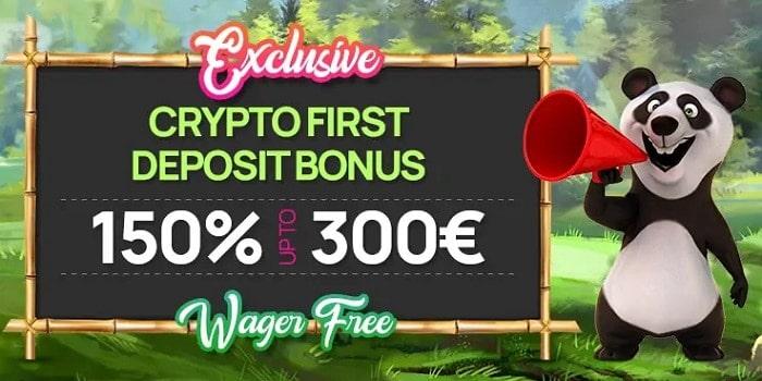 150% up to 300 EUR crypto bonus