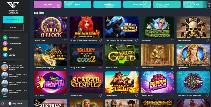 Buran Casino Free Spins Bonus