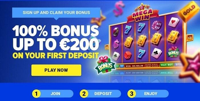 100% bonus up to 200 EUR on first deposit