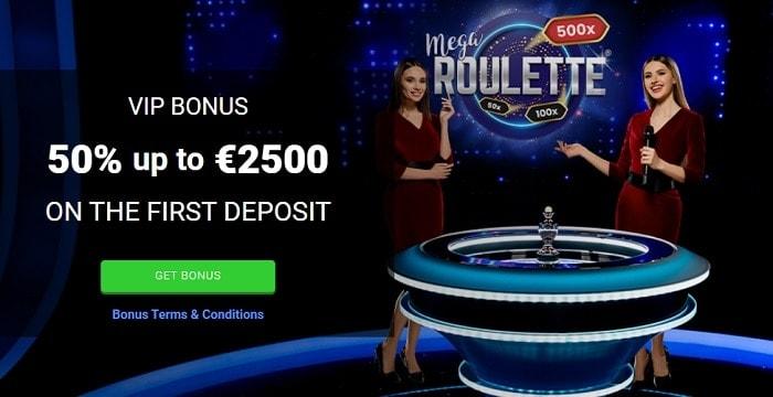 50% up to 2500 EUR free bonus