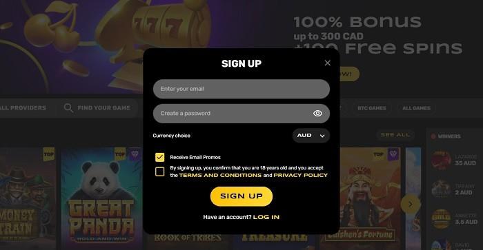 Register and get free spins bonus!