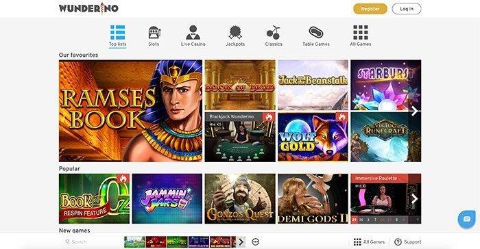 Wunderino Casino free play games