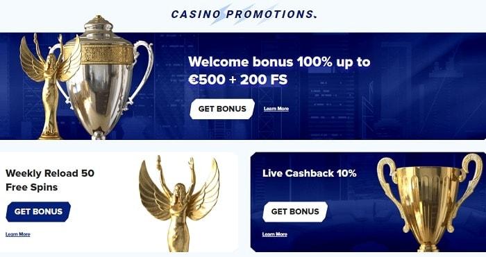 500 euro bonus and 200 freespins