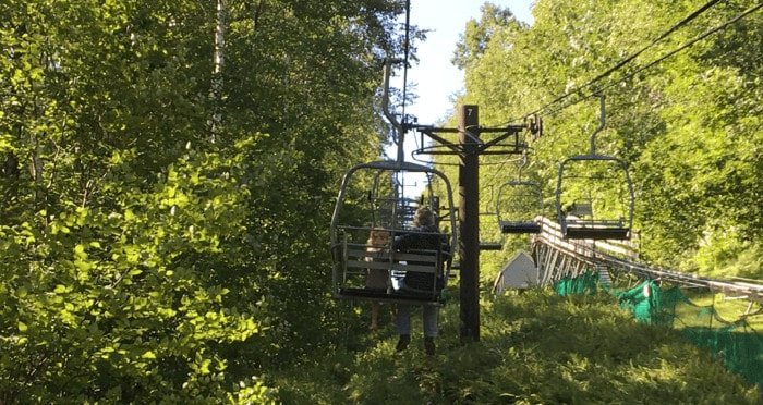 The summer ski lift at jiminy peak in the berkshires