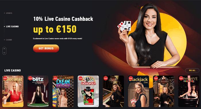 10% Live Casino Cashback