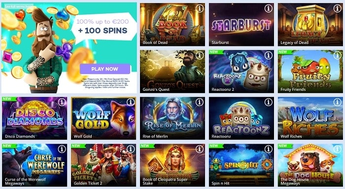 100 spins and 100% bonus