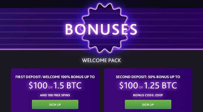 100% up to $100 or 1.25 BTC