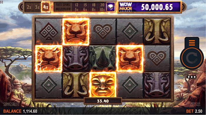 African Legends free spins, bonus game, jackpot wheel