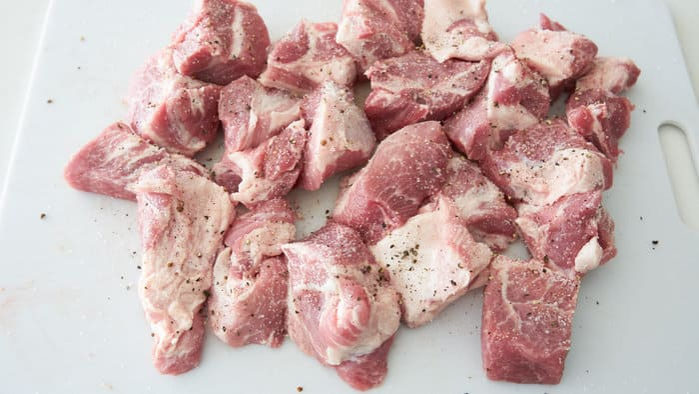 Large chunks of pork for Chile Verde.
