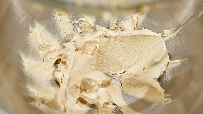 Creamed butter, sugar and lemon zest for banana muffins.