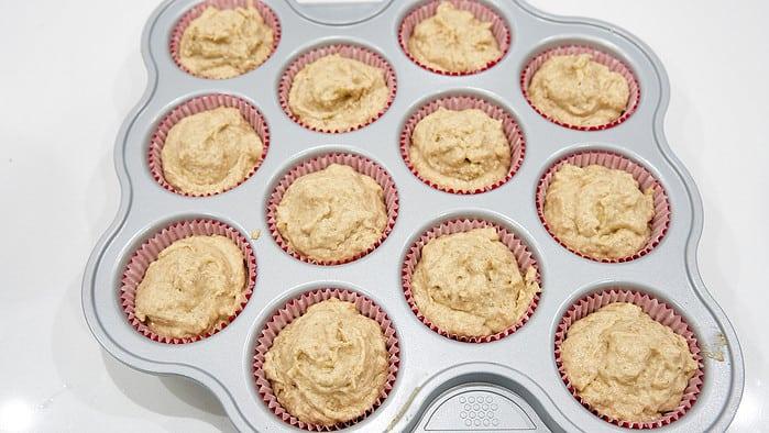 This recipe makes enough batter to make 12 regular-sized lemon banana muffins.
