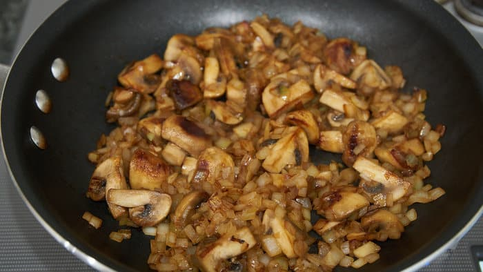 Caramelizing mushrooms and onions for making Beef Stroganoff.