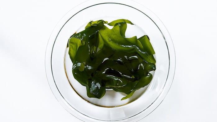 Rehydrated wakame seaweed for sunomono.