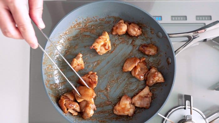 Pan-fried chicken with a ginger soy glaze.