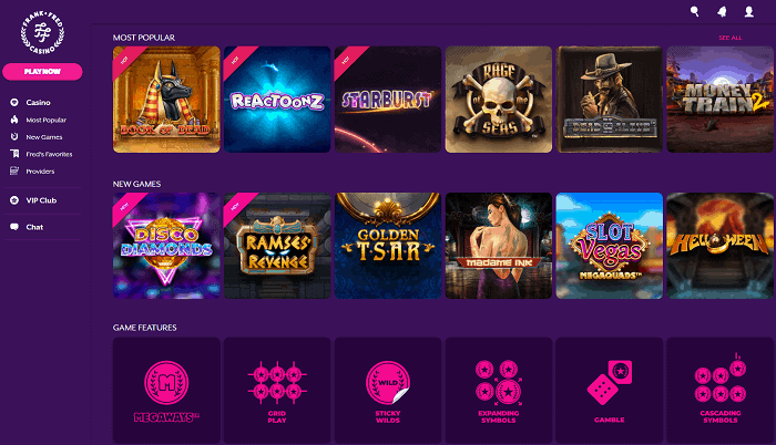 Frank Fred Casino Website and Games
