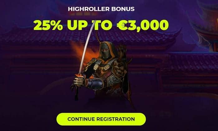 Samurai Highroller Welcome Bonus
