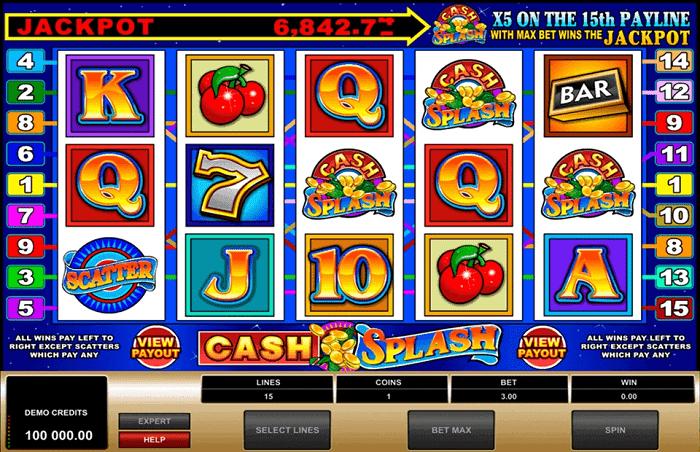 Cash Splash paytable screen