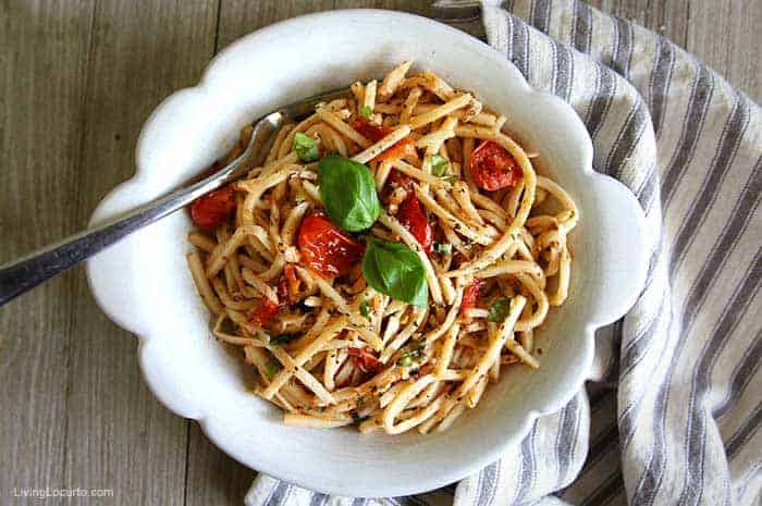 Olive Oil Hearts of Palm Pasta Recipe Palmini Linguine Lean and Green Recipe in Bowl