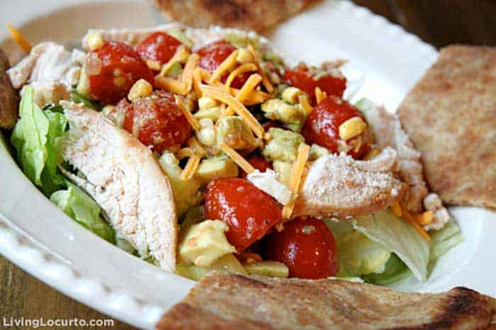 This quick and easy Avocado Chicken Taco Salad is a delicious and HEALTHY recipe!