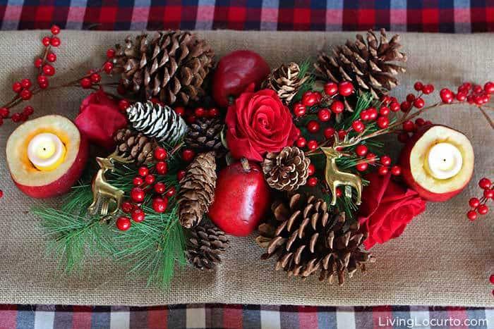 Plaid Christmas Table Decorations | Rustic Holiday Party DIY Centerpiece. LivingLocurto.com