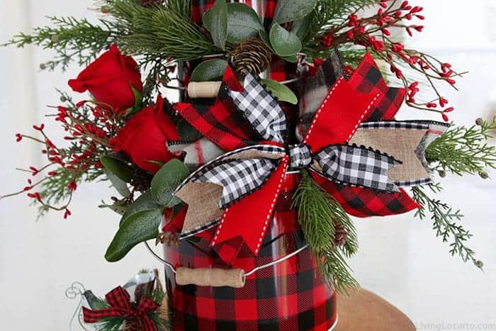 Christmas Centerpiece Buffalo Check Ribbon Bow Home Decor Craft