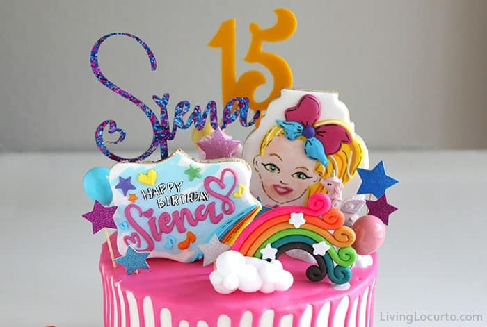 JoJo Siwa Birthday Cake Toppers with rainbow cookies