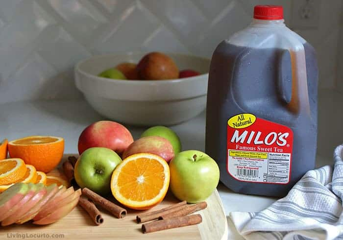 Easy Autumn Spice Punch Recipe with sweet tea, apple juice and fall spices.