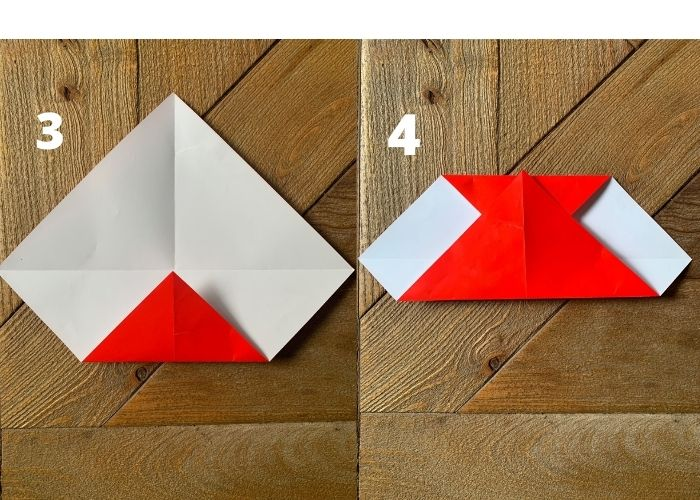 steps 3 and 4 for to make a paper heart.