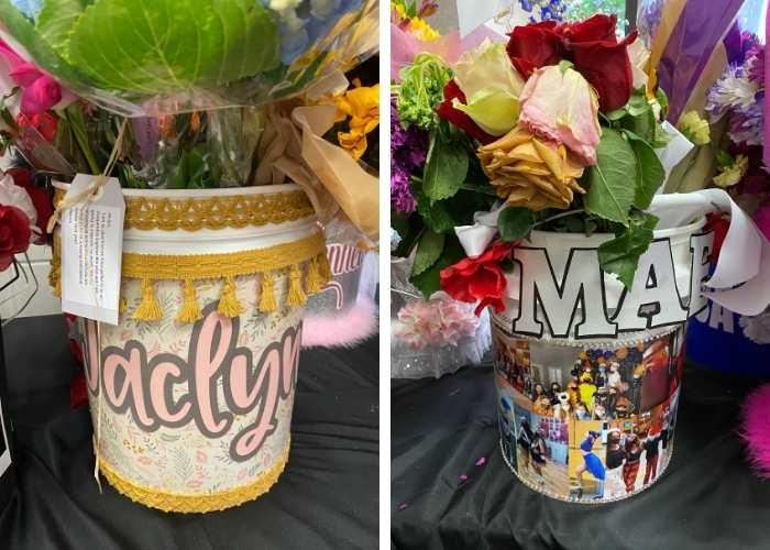 Drill Team Flower Bucket bouquets